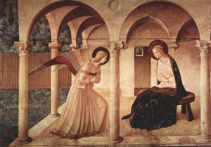 Fra Angelico, The Annunciation, ca. 1450. Fresco, 230 x 321 cm, Convento di San Marco, Florence.