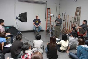 Photo Studio - Instructor Barrie Jones demonstrates lighting equipment