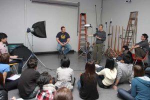 Photo Studio - Instructor Barrie Jones demonstrates lighting equipment